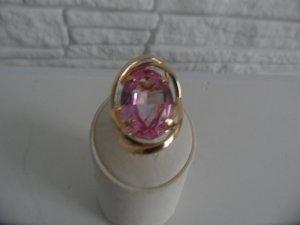 Gelb Gold  Ring 585 mit Pink Topas  stein ca Gr. 8 Karat
