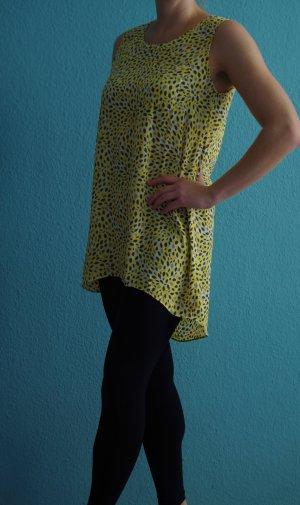 gelb-grau gepunktetes Kleid/Bluse Gr S