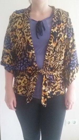 gelb lila schwarzer Kimono von Insight in Größe S