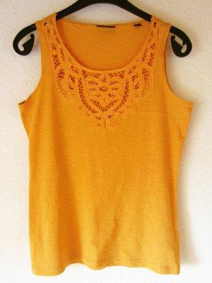 Gelb-oranges Jersey-Top mit Spitze