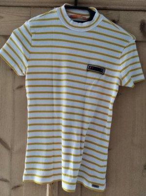 gelb-weiß gestreiftes Rolli-T-shirt von Hugo Boss, Gr. XS