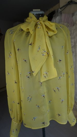 Zijden blouse neongeel-grijs