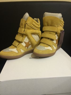 Isabel Marant Velcro Sneakers dark yellow leather