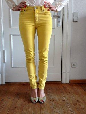 Gelbe Mid Rise Skinny Jeans