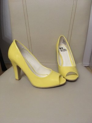 Even & Odd Peep Toe Pumps lichtgeel
