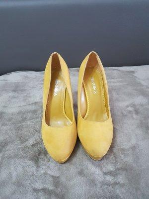 gelbe Plateau High Heels