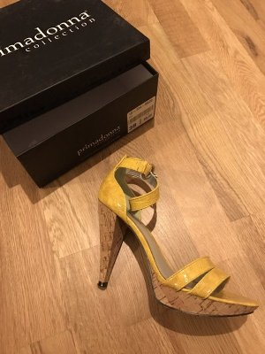 High Heel Sandal pale yellow-yellow polyester