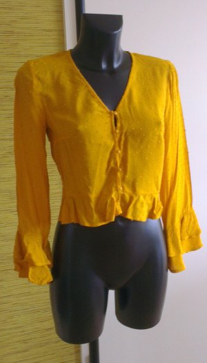 H&M Divided Ruche blouse donkergeel Viscose
