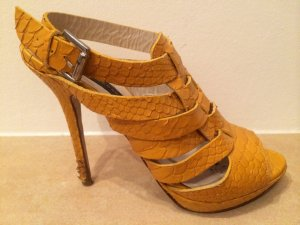 Zara High-Heeled Sandals yellow imitation leather