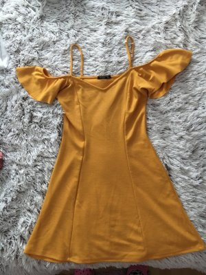 Bershka Pinafore dress gold orange