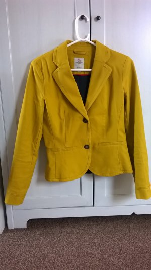 s.Oliver Tweed Blazer gold orange-dark yellow cotton
