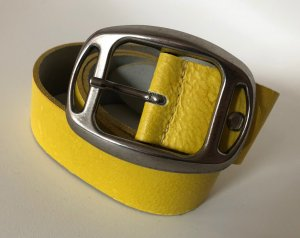 Bernd Götz Leather Belt yellow-silver-colored leather
