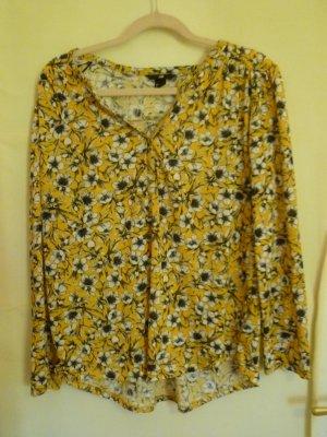 H&M Top à manches longues blanc-jaune foncé