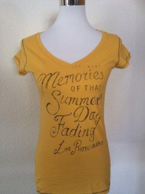 gelbes Esprit Shirt / Longshirt mit Aufdruck - Gr. XS