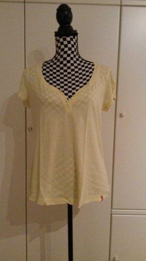 gelbes Esprit Tshirt mit Knöpfchenausschnitt