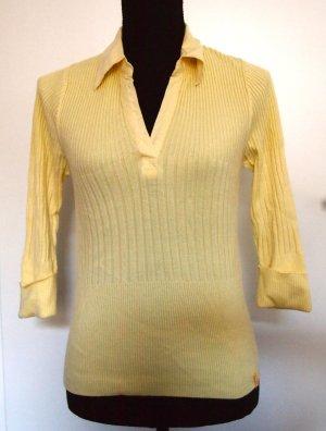 Gelbes Feinstrick T-Shirt Poloshirt