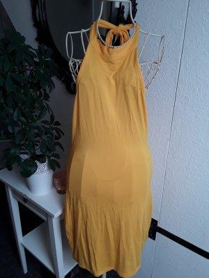 H&M Vestido de cuello Halter amarillo-naranja dorado
