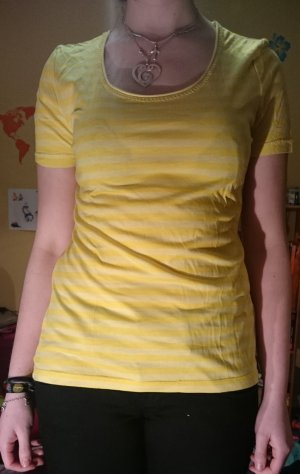 Gelbes Shirt, Größe 36/38, dezent gestreift