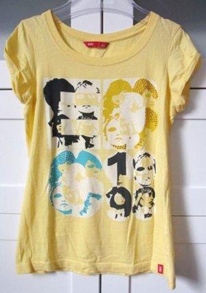 Gelbes Shirt mit Druck Glitzer Motiv Krempelarm Gr. XS
