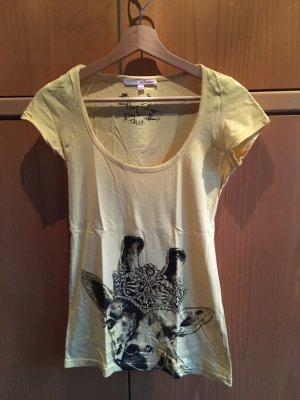 gelbes Shirt mit Giraffenmotiv mit Steinchen