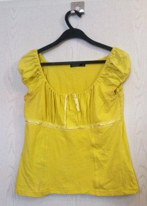 Gelbes T-shirt mit Schnürung, Gr. M