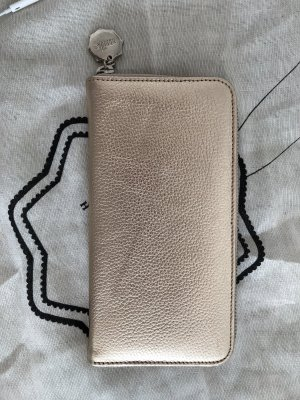 Wallet gold-colored leather