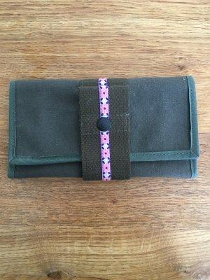 Portafogli cachi-rosa Fibra tessile