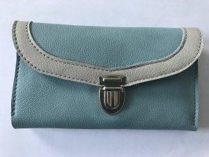 Geldbörse aus Leder - weiß-blau-grau