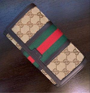 Gucci Wallet dark brown-cream