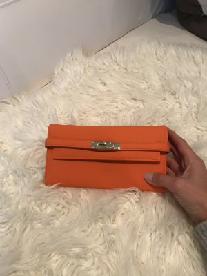 Hermès Wallet neon orange imitation leather