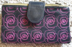 Fossil Wallet dark blue-pink leather