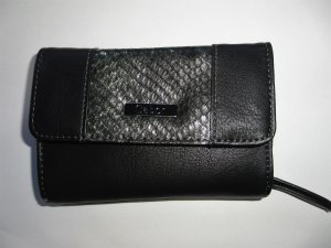 Gabor Wallet black-silver-colored imitation leather