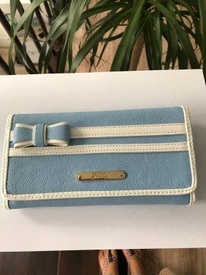 Portefeuille bleu azur-blanc faux cuir
