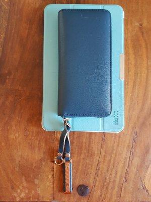Geldtasche in einem schönen blau Ton mit gold Elementen