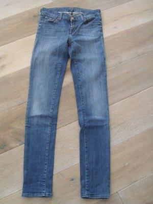 7 For All Mankind Jeans skinny bleu-bleu foncé coton