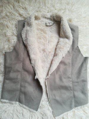 Takko Fake Fur Vest silver-colored-white fake fur