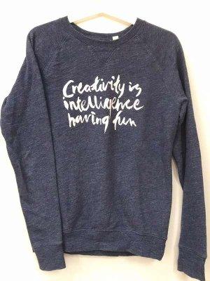 Gemütlicher, dunkelblauer Sweater von H&M, XS, 34, mit Print, 100% Baumwolle, nachhaltig