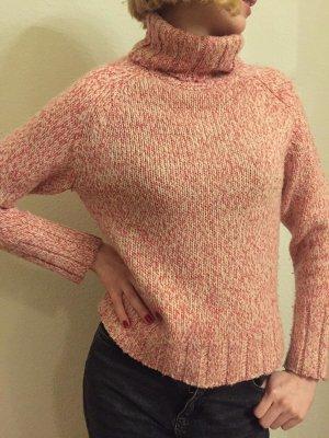 gemütlicher warmer Rollkragenpullover meliert rosa pink weiß von Tommy Hilfiger