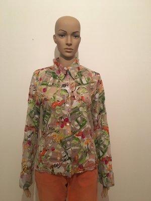 Gemustert Hemd Bluse Langärmelige Oberteil  transparent Netz Muster abstrakt Kunst Zeichnung Malerei grün orange rot schwarz cool hochwertig edel Marke Designer