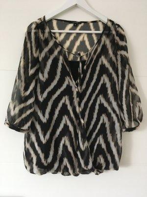 Comma Blusa de túnica negro-gris claro