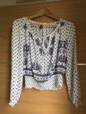 H&M Slip-over Blouse white-dark blue