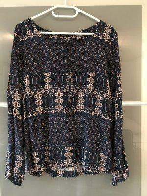 Gemusterte Bluse in dunkelblau