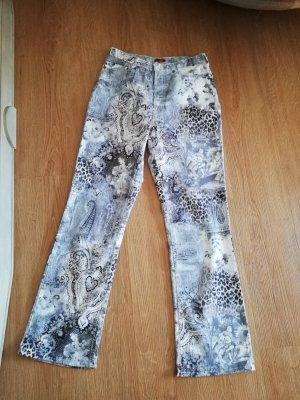 Lage taille broek wit-azuur