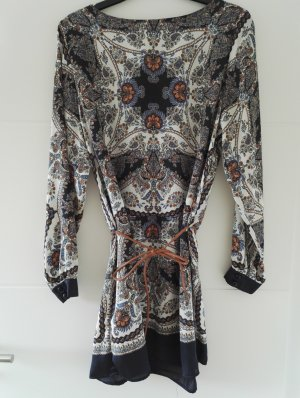 gemusterte lange Tunika Bluse Boho-Style mit Gürtel , Gr. 38-40