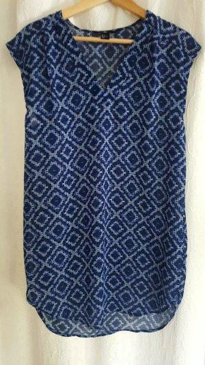 gemusterte Tunika / Long-Bluse in blau-weiß