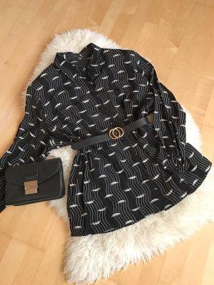 Cuello de blusa negro-blanco