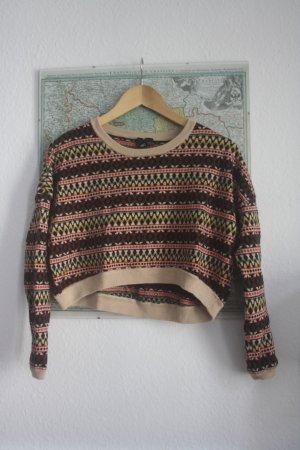 Gemusterter Pullover Kurzpullover S 36 38 Ikat Ethno Print *TREND*