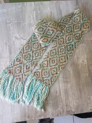 Gebreide sjaal bruin-turkoois