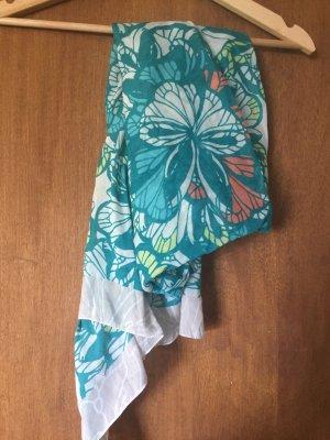 gemusterter, türkis, weißer Schal von H&M