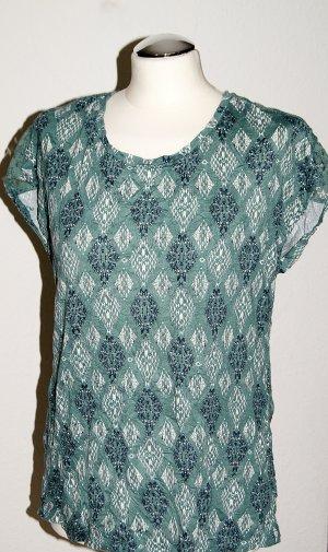 Gemustertes Crinkle-Shirt mit Spitzen-Einsatz am Rücken